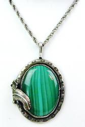 N.A. Indian Large Sterling Malachite Pendant/Chain