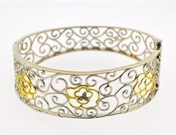 Sterling Silver and Gold Bangle Bracelet