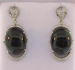 Black Onyx and Crystal Sterling Silver Earrings