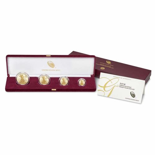 Proof American Gold Eagle 4pc Set In Box 2018