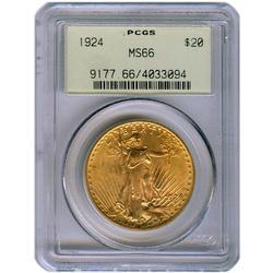 Certified $20 St Gaudens 1924 MS66 PGCS