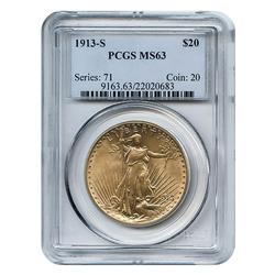 Certified $20 St Gaudens 1913-S MS63 PCGS