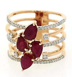 Tempting Ruby & Diamond Multi Row Ring