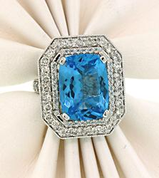 Amazing Vibrant Blue Topaz & Diamond Cocktail Ring