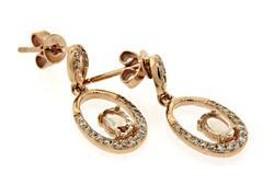 Modern Oval Dangle Earrings with Morganite & Diamonds