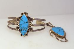Matching Vintage Turquoise Cuff and Pendant