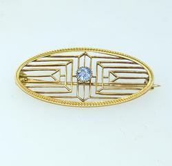Vintage Violet Sapphire Pin in 14KT Gold