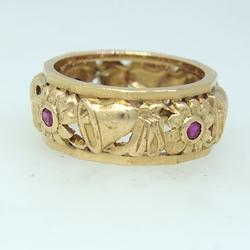 Pink Gold and Ruby Wedding Bells Ring