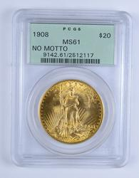MS61 1908 $20.00 Saint Gaudens Gold Double Eagle - No Motto - PCGS Graded
