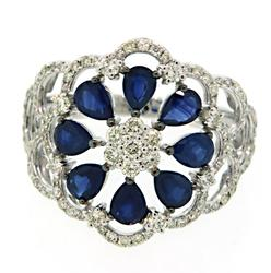 Marvelous Sapphire & Diamond Flower Ring