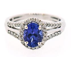 Rich Tanzanite & Diamond Halo Ring