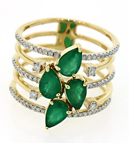 Must Have! Emerald & Diamond Wide Band Ring