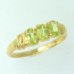 Colorful Three Stone Peridot Ring in Gold