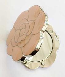 Pretty, Pink Enamel Flower 'Double Mirrored' Compact