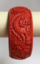 Stunning, Chinese 'Dragon' Carved 'Cinnabar' Bangle Bracelet