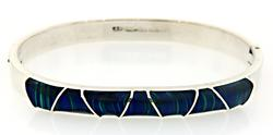 Blue Green Inlay Sterling Silver Bangle