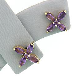 Delightful Amethyst Flower Earrings