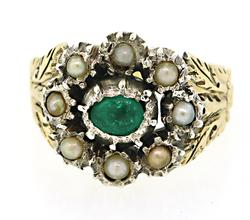 Antique Emerald & Pearl Ring
