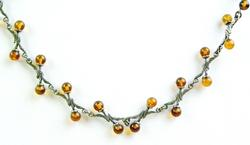 Pretty Sterling Amber Necklace