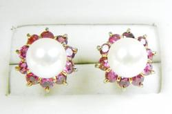 Elegant 14K Pearl & Pink Topaz Earrings