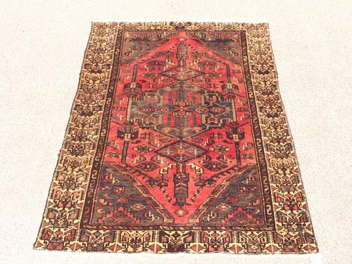 Charming Mid-20th C. Authentic Hand Woven Vintage Persian Hosssein-Abad Rug