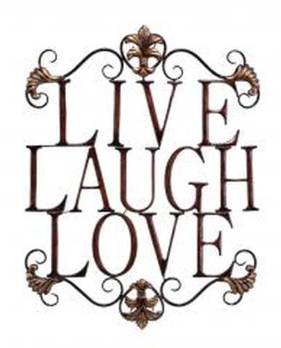 Benzara Live Laugh Love Metal Wall Art, Brown | USAuctionBrokers.com