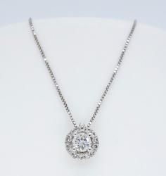 14K White Gold Halo Diamond Pendant