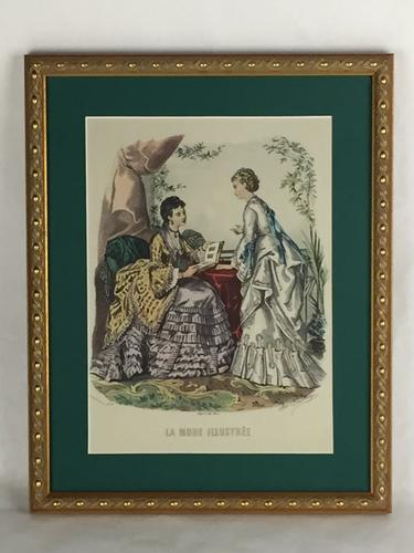 Vintage French Fashion/Boudoir Print, Beautifully Framed