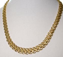 Tapered Textured 14K Link Necklace