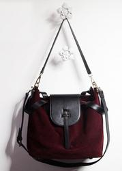 Leather and Velvet Messenger Shoulder Bag