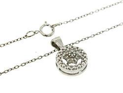 Very Nice Flower Circle Diamond Pendant Necklace