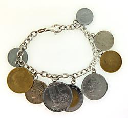 Sterling Silver Clever Assorted European Coins Bracelet