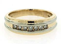 Two Tone Gold Diamond Channel Band Ring