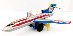TWA Boeing 727 Tin Wind-Up Airplane