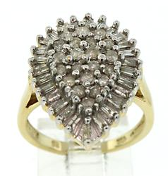 Gorgeous Two Tone Diamond Cluster Teardrop Ring