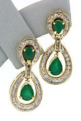 Stunning Emerald & Diamond Dangle Earrings