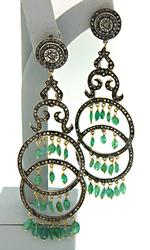 Hand Crafted Emerald & Diamond Chandelier Earrings