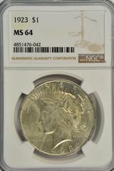 Near Gem BU 1923 Peace Silver Dollar. NGC MS64