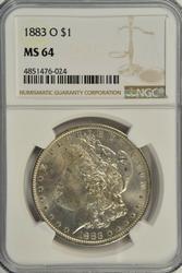 Great BU 1883-O Morgan Silver Dollar. NGC MS64