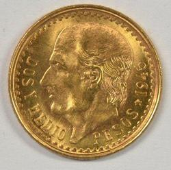 Great Gem BU 1945 Mexico 2.5 Pesos Gold Piece