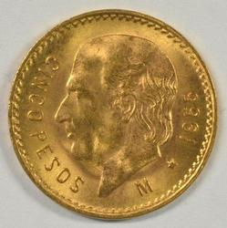 Superb Gem BU 1955 Mexico 5 Pesos Gold Piece