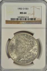 Lovely NGC MS64 graded 1902-O Morgan Silver Dollar