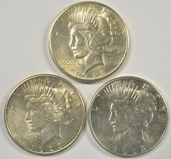 Flashy slider/BU 1922-S & 2 1923-S Peace Silver Dollars