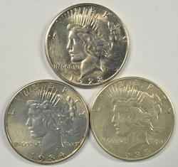 Upper end 1923-S, 1934-P, & 1935-P Peace Silver Dollars