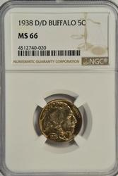 Superb Gem BU 1938-D/D Buffalo Nickel. NGC MS66
