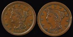 Glossy-Brown CH AU 1852 & 1953 Braided Hair Large Cents
