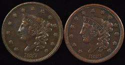 Sharp 1837 & 1838 Coronet Head Large Cents. Nice XFs