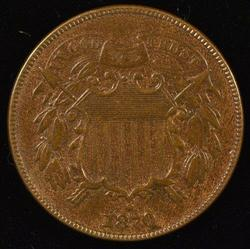 Scarce 1870 Two Cent Piece. Reddish-Brown Unc