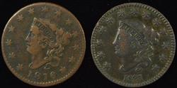 Better Date 1816 & 1831 Coronet Head Large Cents