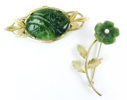 2 Vintage Carved Jade Gold-Filled Pins